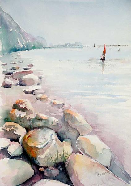 Meer, Malerei, Landschaft, Berge, Boot, Strand