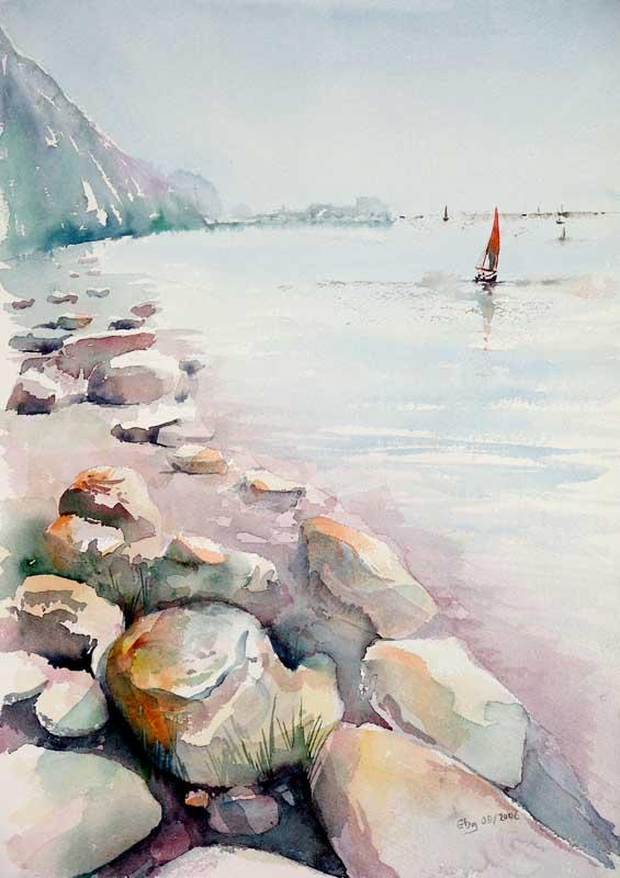Steiniger Strand Malerei Landschaft Meer Berge Von