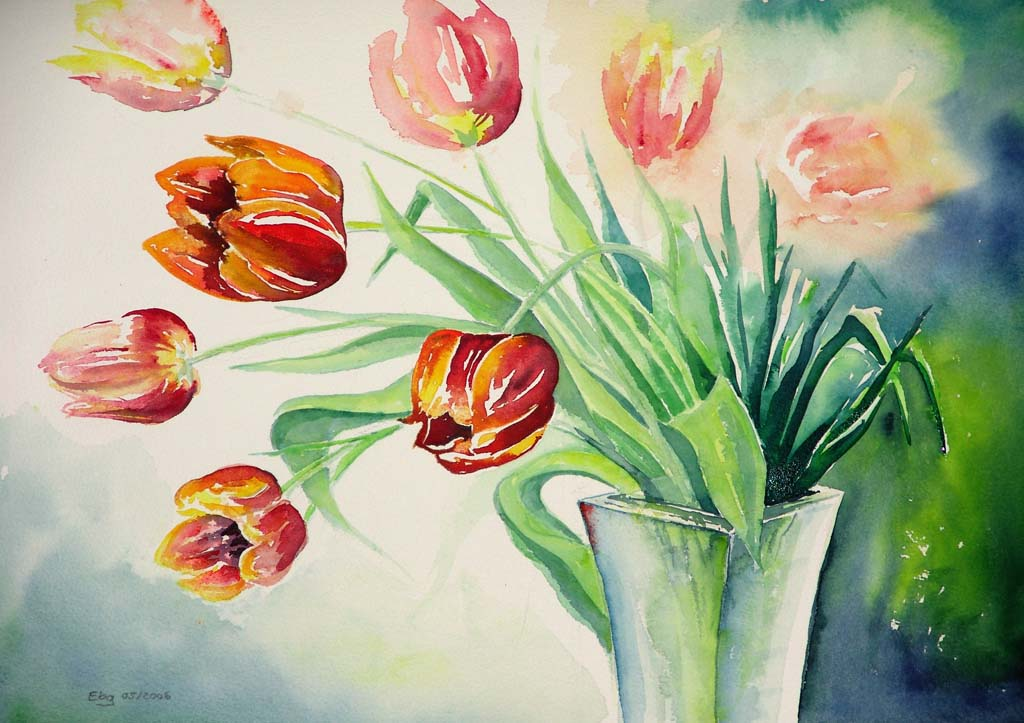 Aquarellmalerei Tulpen 267 Bilder Und Ideen Gemalt Auf Kunstnet