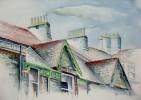 England, Dach, Haus, Malerei