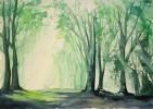 Aquarellmalerei, Blätter, Baum, Malerei