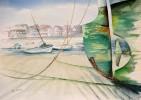 Boot, Malerei, Hafen, Wasser