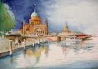 Kirche, Aquarellmalerei, Wasser, Landschaft