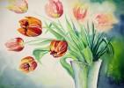 Vase, Rot, Gelb, Strauß