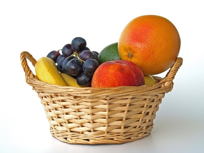 Lebensmittel, Korb, Zitrusfrüchte, Weintrauben, Banane, Vitamin
