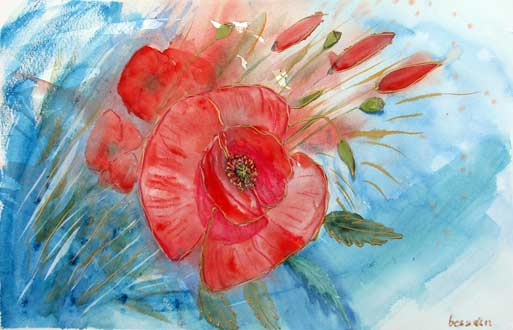 Landschaft, Rot, Mohnblumen, Aquarellmalerei, Malerei