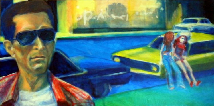 Taxidriver, Blick, Acrylmalerei, Augen, Gelb, Rot