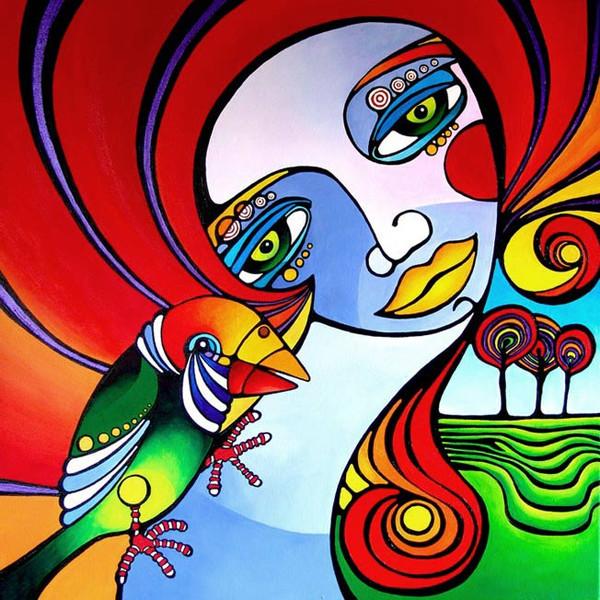 Kontrast, Vogel, Frau, Surreal, Malerei, Bunt