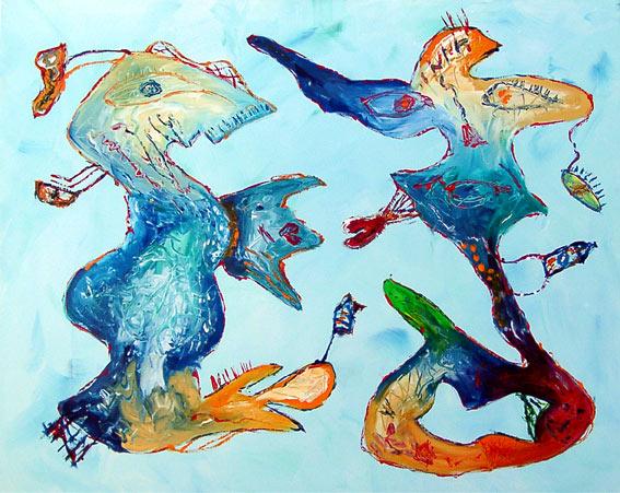 Abstrakt, Malerei, Hügel