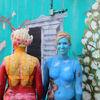 Blumen, Blau, Bodyart, Fantasie