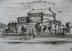 Landschaft, Dresden, Semperoper, Zeichnung