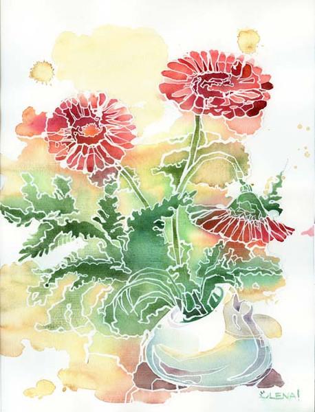Blumen, Malerei, Stillleben, Aquarellmalerei, Rot, Zimmer