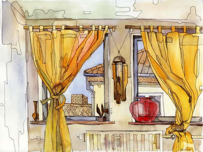 Stillleben, Malerei, Fenster, Wohnung, Serie, Schlafzimmer