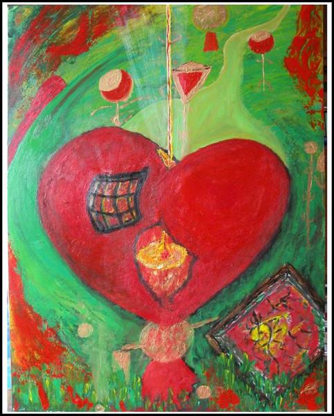 Gefühl, Abstrakt, Herz, Schutz, Malerei, Gedanken