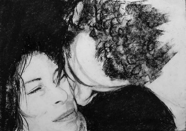 Portrait, Zeichnung, Angedeuter, Kuss, Zeichnungen,