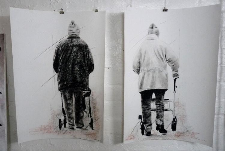 Straße, Hose, Alter mann, Alter mensch, Stehen, Sitzen
