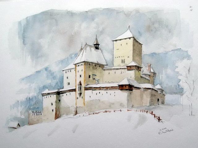 Burg, Mauterndorf, Salzburg schnee, Aquarell, Salzburg