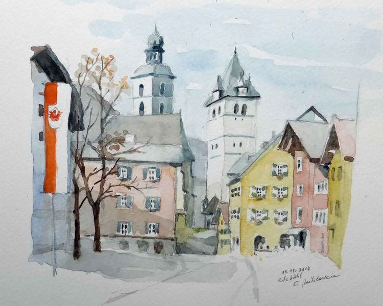Landschaft, Kitzbühel, Altstadt, Tirol, Kirche, Aquarellmalerei