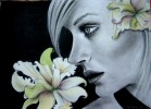 Zeichnung, Mädchen, Helisartpage, Blumen