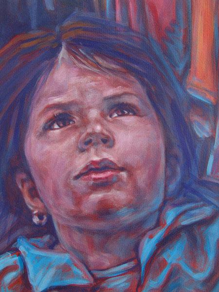 Portrait, Schreck, Acrylmalerei, Figural, Ausschnitt, Wiesbaden