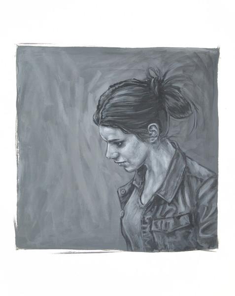 Malerei, Figural, Mädchen, Portrait, Monochrom, Frau