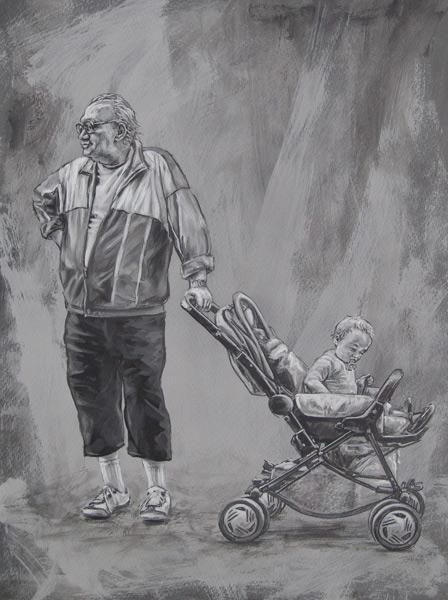 Schreck, Kinderwagen, Alter mann, Figural, Wiesbaden, Kind