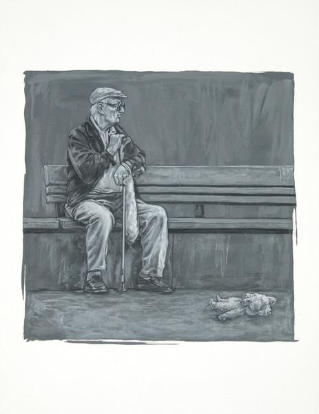 Puppe, Malerei, Opa, Figural, Bank, Portrait