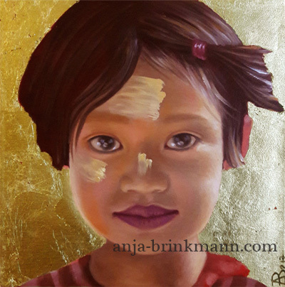 Kind, Birma, Stamm, Blattmetall, Gold, Child portrait