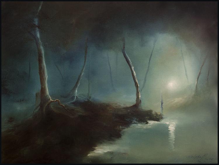 Auwald, Sumpf, Bach, Nacht, Waldweg, Mond