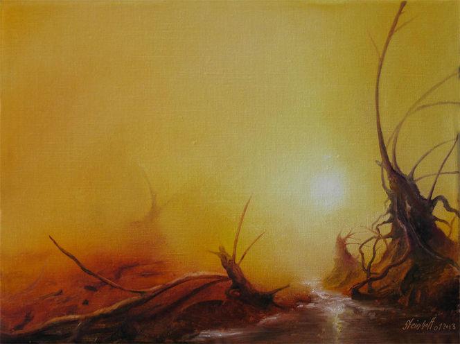 Holz, Fluss, Treibholz, Moor, Insel, Malerei