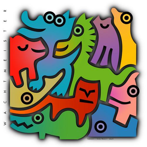 Verschachteln, Grafik, Farben, Tiere, Formen, Mosaik