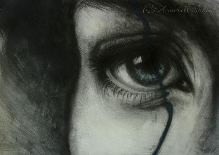 Vergehen, Augen, Schmerz, Teil, Grafit, Blau