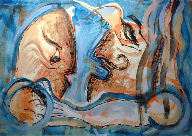 Mann, Malerei, Genuss, Schmerz, Figural, Menschen