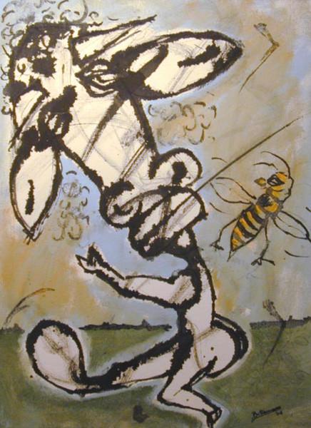 Schwellung, Malerei, Biene, Figural, Schmerz