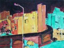 Haus, Nacht, Temperamalerei, Malerei