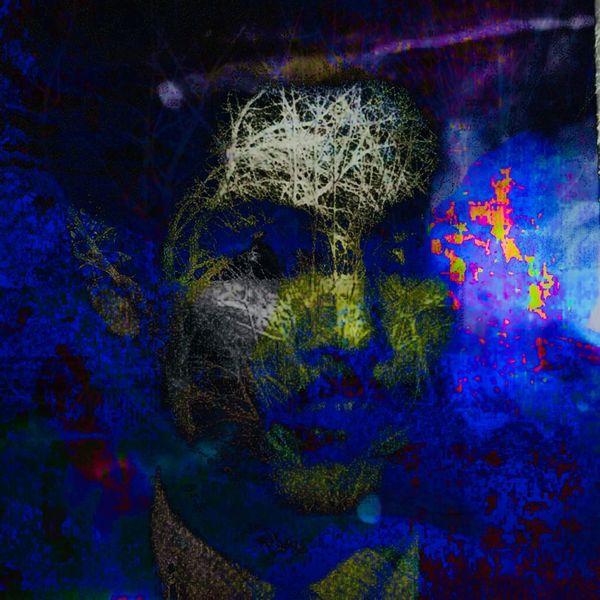 Schatten, Gesicht, Mann, Nacht, Mischtechnik, Verborgen