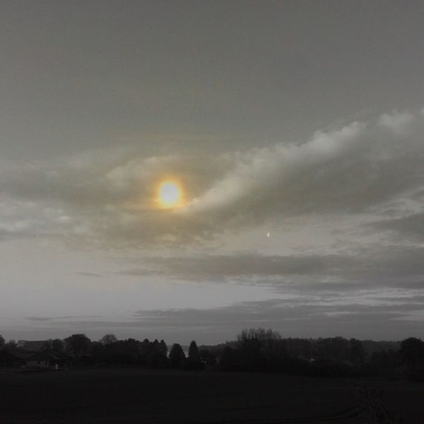 Goldene sonne, Landschaft, Schaalsee, Himmel, Mischtechnik