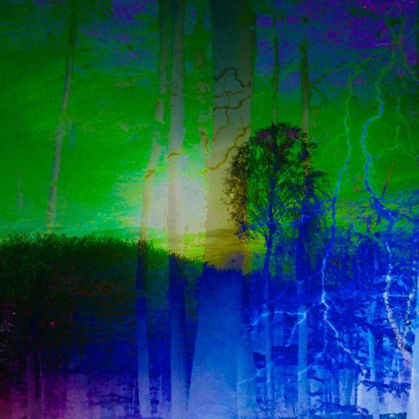 Sonne, Baum, Blitz, Himmelgrün, Mischtechnik,