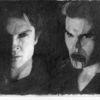 Zeichnung, Kohlezeichnung, Vampir, Mann