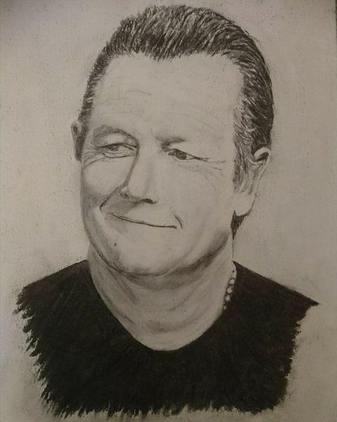 Mann, Terminator, Menschen, Skorpion, Kohlezeichnung, Portrait