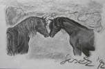 Natur, Zeichnung, Pferde, Skizze