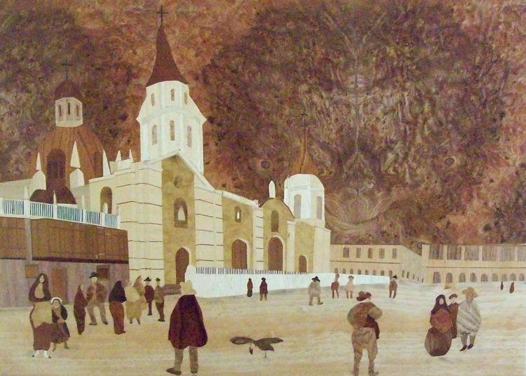 Intarsienbilder, Antugua, Teil, Marketerie, Lima, Kunsthandwerk