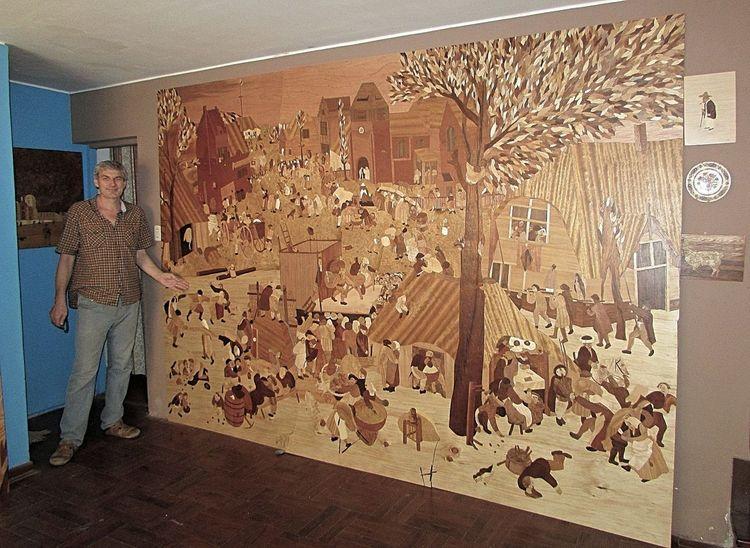 Naturholz, Intarsienbilder, Kirtag, Holzwandbild, Kirmes, Marketerie