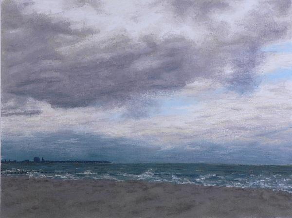 Malerei, Landschaft, Ostsee, Strand, Sturm