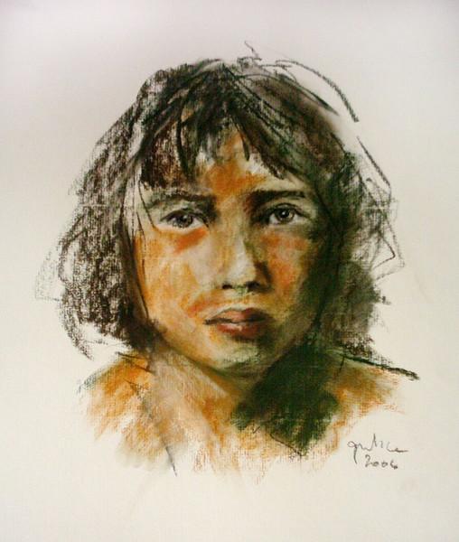 Pastellmalerei, Junge, Skizze, Zeichnung, Zeichnungen
