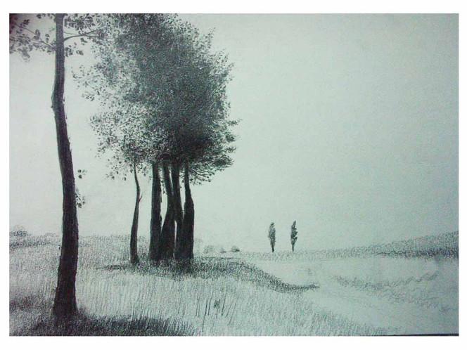 Landschaft, Zeichnung, Zeichnungen, Weide