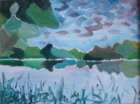 Malerei, Landschaft, Regen