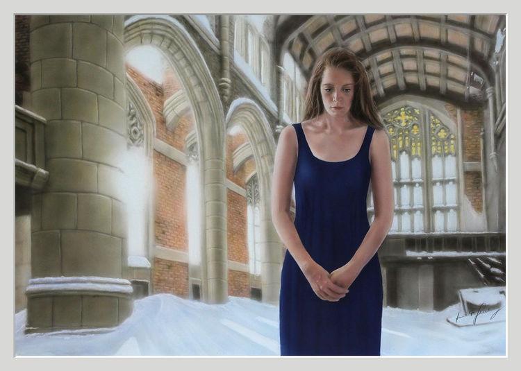 Glaube, Kirche, Ruine, Emotion, Acrylmalerei, Frau