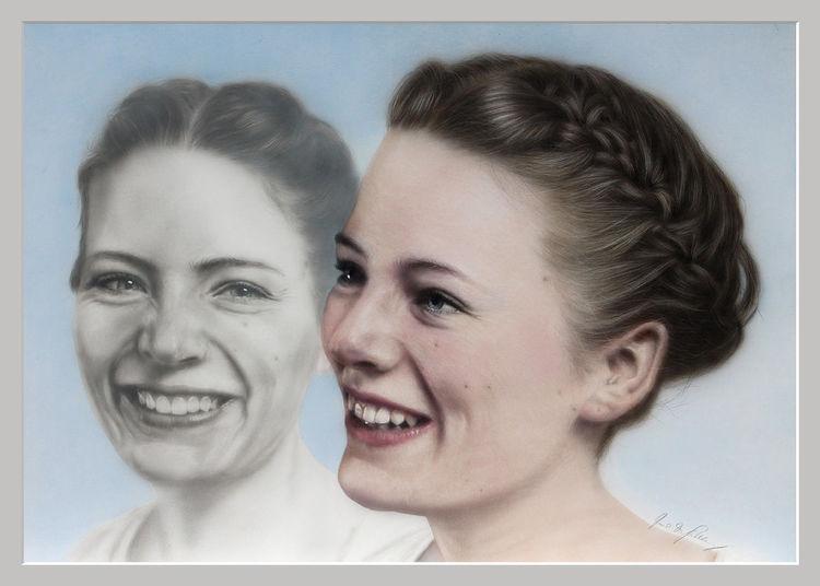 Frau, Aquarellmalerei, Portrait, Augen, Mund, Mädchen