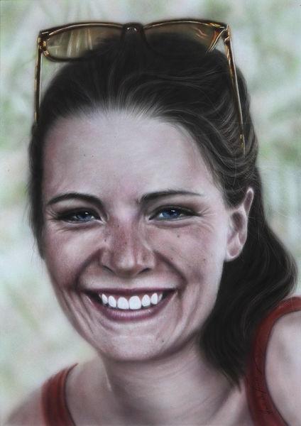 Portrait, Lächeln, Gesicht, Acrylmalerei, Augen, Frau